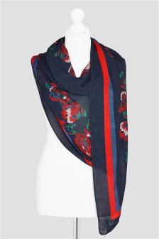 Printed Floral Embroidered Effect Scarf