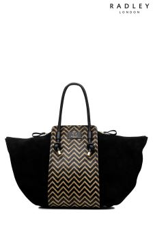 Radley Black Bliss Crescent Chevron Large Zip Top Grab