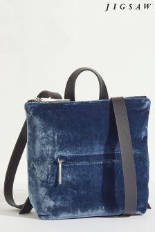 Jigsaw Blue Mini Stevie Velvet Backpack