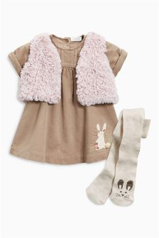 Cord Dress, Gilet And Tights Set (0mths-2yrs)