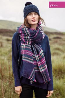 Joules Heyford French Navy Check Oversized Woven Scarf