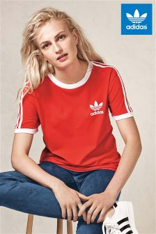 adidas Originals Red 3 Stripe Tee