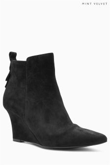 Mint Velvet Black Amie Suede Pointed Wedge Ankle Boot