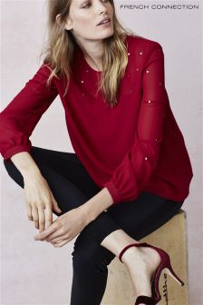 French Connection Red Embellished Blouse