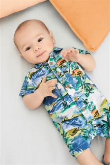 Printed Shirt Romper (0mths-2yrs)