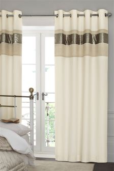 Gold Sequin Panel Eyelet Curtains