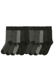 Grey Formal Mix Socks Ten Pack