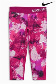 Nike Pink Printed Pro Cool Capri