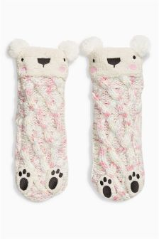 Bear Slipper Socks (Older Girls)