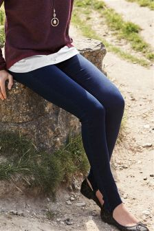 Pull On Stirrup Denim Leggings