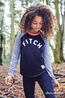 Abercrombie & Fitch Navy Long Sleeve Raglan Tee