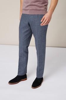 Melange Linen Blend Suit: Trousers