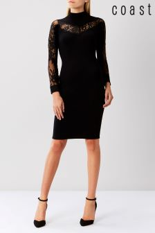 Coast Black Cecil Lace Knit Dress