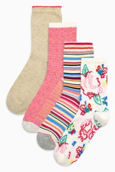 Patterned Ankle Socks Four Pack