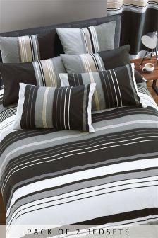 2 Pack Black Stripe Bed Set