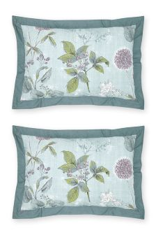 Set Of 2 Cotton Wild Hedgerow Teal Oxford Pillowcases