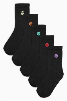 Embroidered Faces Socks Five Pack (Older Boys)