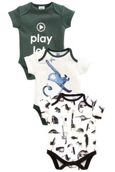 Monkey Print Short Sleeve Bodysuits Three Pack (0mths-2yrs)