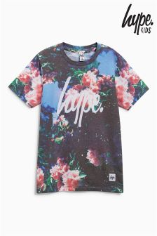 Hype Pink Printed Curved Hem T-Shirt