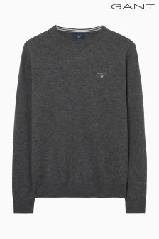Gant Grey Super Fine Lambswool Crew Jumper