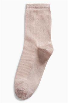 Metallic Thread Ribbed Socks