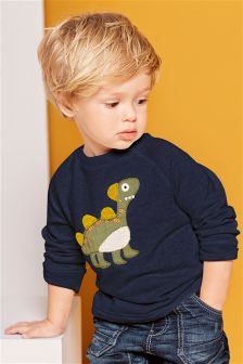 Appliqué Dinosaur Crew Neck Jumper (3mths-6yrs)
