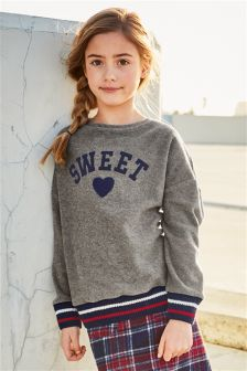 Sweet Heart Sports Trim Sweat Top (3-16yrs)