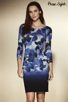 Phase Eight Blue Dasia Dip Dye Leaf Dress