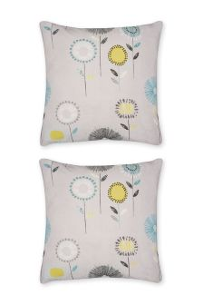 Set Of 2 Retro Floral Grey Square Pillowcases
