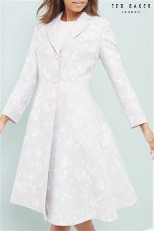Ted Baker Light Grey Fraully Oriental Jacquard Coat