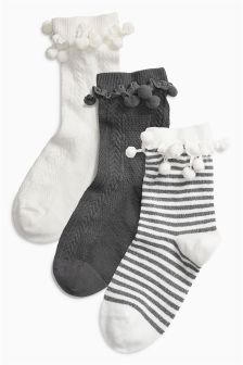 Pom Pom Socks Three Pack (Older Girls)