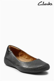 Clarks Black Leather Cushion Plus Flat Ballerina Shoe