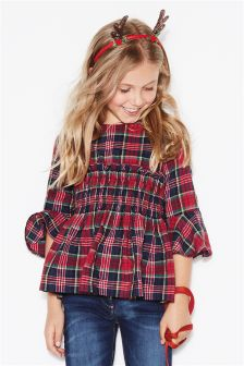 Girls Tartan Ruched Sleeve Blouse (3-16yrs)