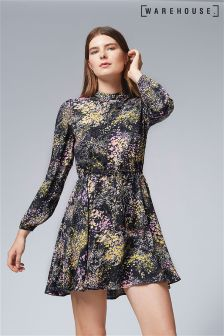 Warehouse Winter Floral Skater Dress