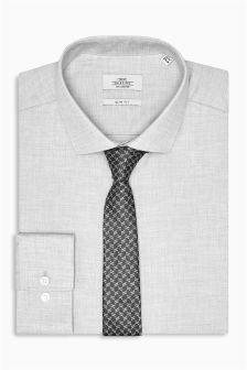Marl Slim Fit Shirt And Tie Set