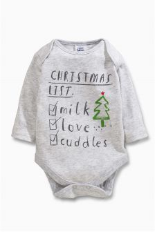 Long Sleeve Christmas List Bodysuit (0mths-2yrs)