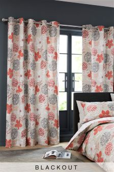 Bold Floral Red Eyelet Curtain