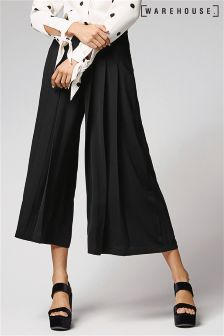 Warehouse Black Pleated Culotte