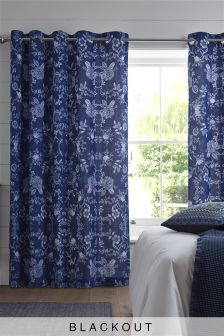 Blue Floral Blackout Eyelet Curtains