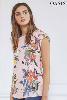 Oasis Coral Embroidered Placement T-Shirt