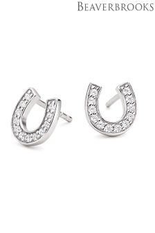 Beaverbrooks Silver Cubic Zirconia Horseshoe Stud Earrings