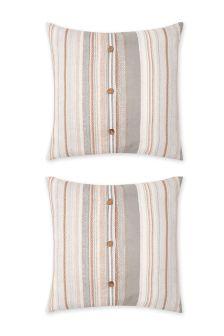 Set Of 2 Hibernate Stripe Square Pillowcases