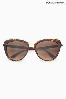 Dolce And Gabanna Tortoiseshell Gold Rim Cat-Eye Sunglasses
