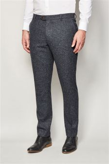 Nep Textured Check Suit: Skinny Fit Trousers
