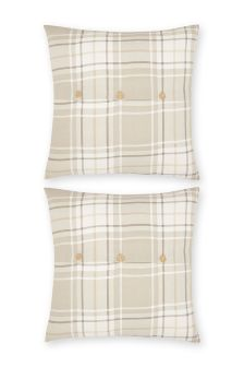Set Of 2 Natural Check Square Pillowcases