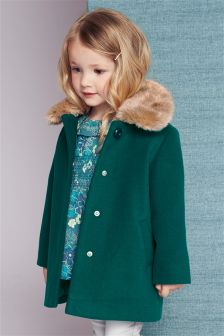 Faux Fur Collar Coat (12mths-6yrs)