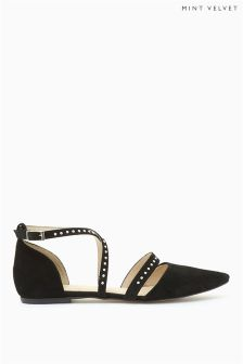 Mint Velvet Black Becky Suede Cross Over Studded Strap Ballet Pumps