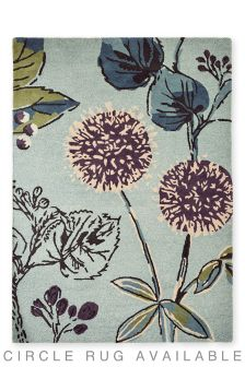 Wool Teal Botanical Floral Rug