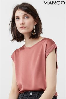 Mango Pink Short Sleeve Blouse