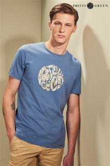 Pretty Green Blue Floral Logo T-Shirt